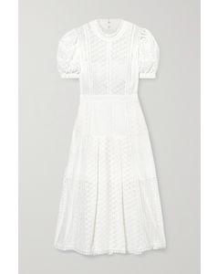 马德拉刺绣纯棉中长连衣裙