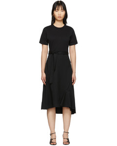 黑色Combo T恤式羊毛連衣裙