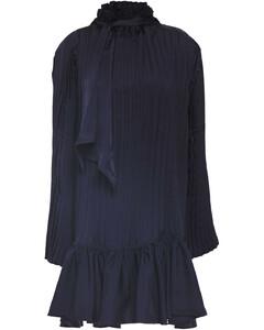 Woman Tie-neck Pleated Satin-twill Mini Dress