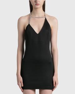 Asymmetrical Crystal Halter Mini Dress