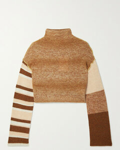 Cropped Patchwork Knitted Turtleneck Sweater