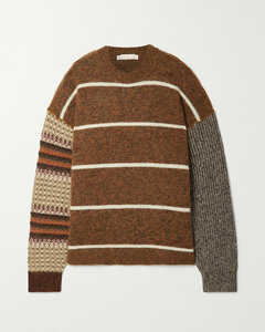 Striped Patchwork Wool-blend Sweater