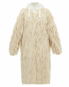 Bouregreg faux-shearling overlay quilted coat