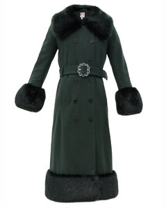 River faux fur-trimmed recycled wool-blend coat