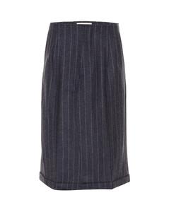 细条纹羊毛中长半身裙