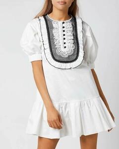 Women's Lace-Bib Cotton Mini Dress - White