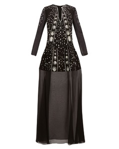 Crystal-embellished wool-crepe gown