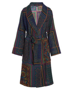 Coly Pattern Patched Belted Dressing Gown