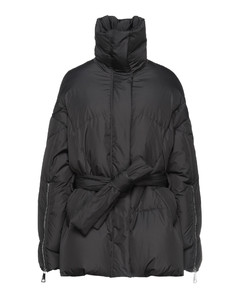 Double-breasted flared-hem cotton trench coat