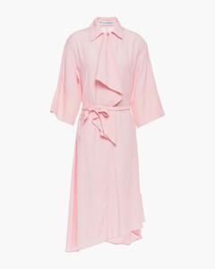 Woman Asymmetric Draped Poplin Dress