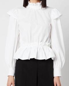 Women's Cotton Poplin High Neck Shirt - Bright White
