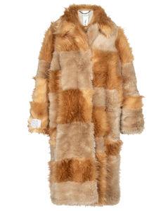 Adrienne patchwork faux fur coat
