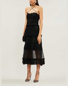 Angelia ruffled mesh and cotton midi dress