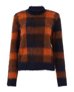 Kanya check pattern alpaca blend sweater