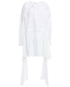 Woman Asymmetric Cotton-poplin Mini Dress