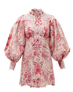 Wavelength Ikat-print lace mini dress