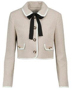 缀饰格纹短款夹克