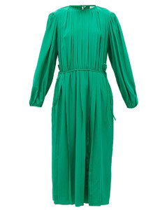 Pleated silk-georgette midi dress