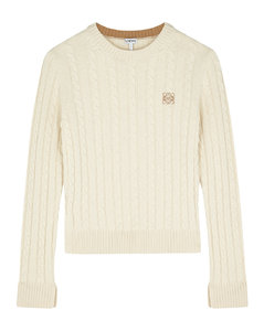 Cream cable-knit wool-blend jumper