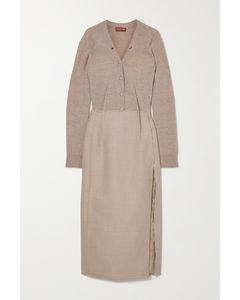 Arlene渐变色羊毛混纺中长连衣裙