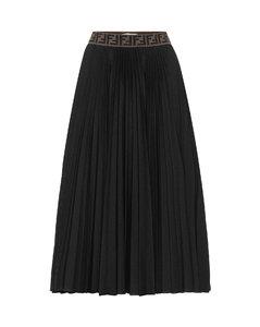 褶裥棉質混紡半身裙