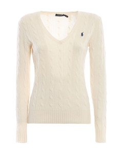 Twist knit wool and cashmere V-neck sweater