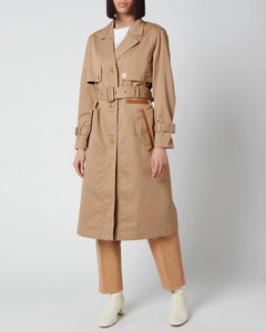 Women's Cotton Trench with Leather Trim - Beige
