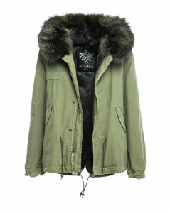 Exclusive Fw20 Icon Parka: Army Cotton Canvas Mini Parka With Dyed Lapin Fur Lining