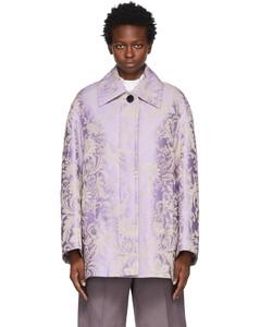 紫色Jacquard Floral大衣