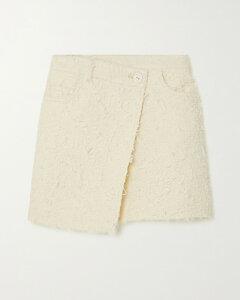 Asymmetric Wrap-effect Bouclé-tweed Mini Skirt - FR36