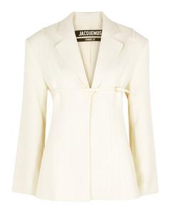 La Veste Sauge white wool-blend blazer