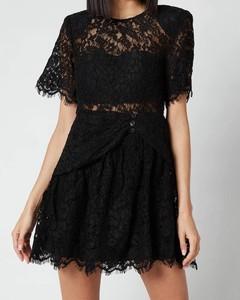 Women's Fine Cord Sleeve Mini Dress - Black