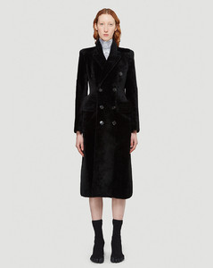Hourglass Double-Breasted Coat in Black