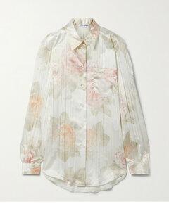 Floral-print Satin Shirt