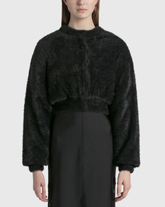 Faux Fur Long Sleeve Crewneck Cardigan With Quilited Lining