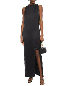 Split-front satin maxi dress