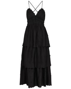 Black flower-appliquéd satin midi dress