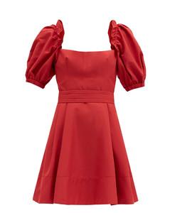 Puffed-sleeve taffeta mini dress