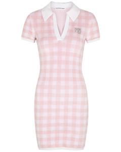 Gingham stretch cotton-terry mini dress