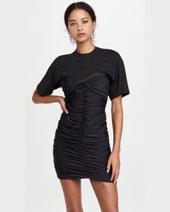 一体式短袖T恤褶饰合身剪裁迷你连衣裙