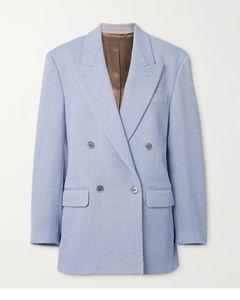 双排扣羊毛混纺斜纹呢西装外套