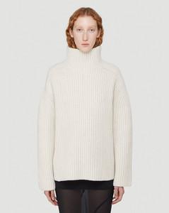 Turtleneck Wool-Knit Sweater in Beige