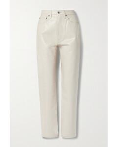 Leather-blend Straight-leg Pants