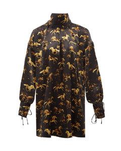 High-neck horse-print silk-satin mini dress