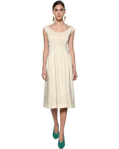 Viscose Woven Midi Dress W/buttoned Back