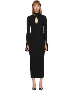 黑色链条饰边连衣裙