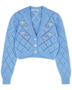 Blue knitted alpaca-blend cardigan