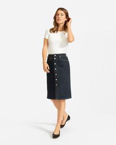 The Denim Button-Front Pencil Skirt