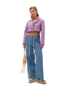 Viscose long dress with splits .