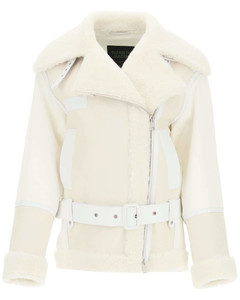COTTON JACKET WITH NAPPA AND SHEARLING INSERTS